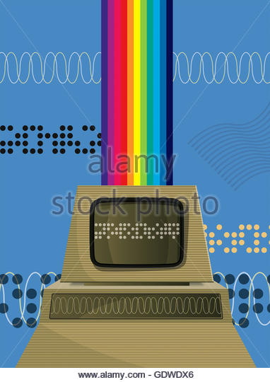 Retro personal computer with rainbow - Stock Image