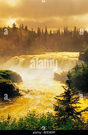 Sunrise at Pisew Falls along the Grass River, Manitoba, Canada - Stock Image