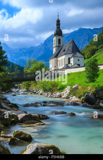 The Church of St. Sebastian in Ramsau near Berchtesgaden, Bavaria, Germany. - Stock-Bilder