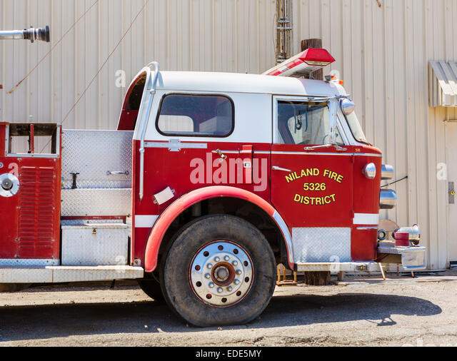 Fire Truck at Bombay Beach on the Salton Sea, Imperial County, California, USA - Stock Image