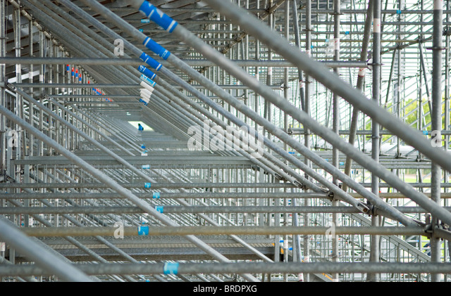 Supporting scaffolding at the rear of the main grandstand at Silverstone motor racing circuit, British grand prix. - Stock Image