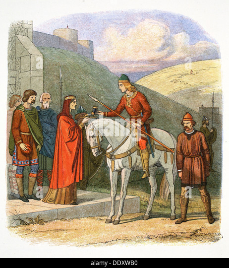 Edward the Martyr arriving at Corfe, Dorset, 978 (1864). Artist: James William Edmund Doyle - Stock Image