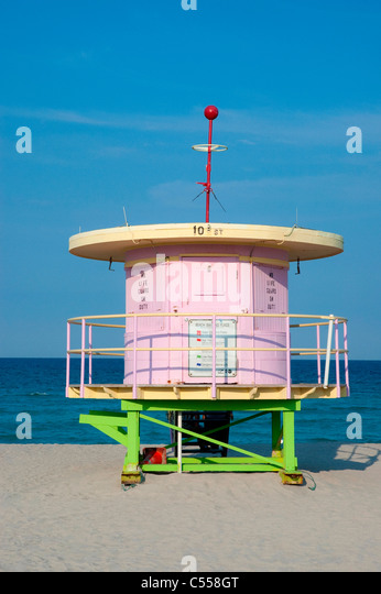 Lifeguard station on the beach, South Beach, Miami Beach, Florida, USA - Stock Image