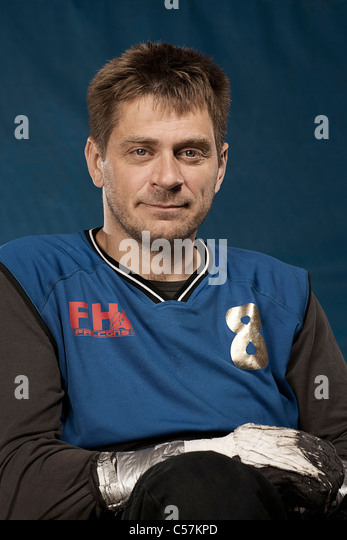 Para rugby player smiling - Stock Image