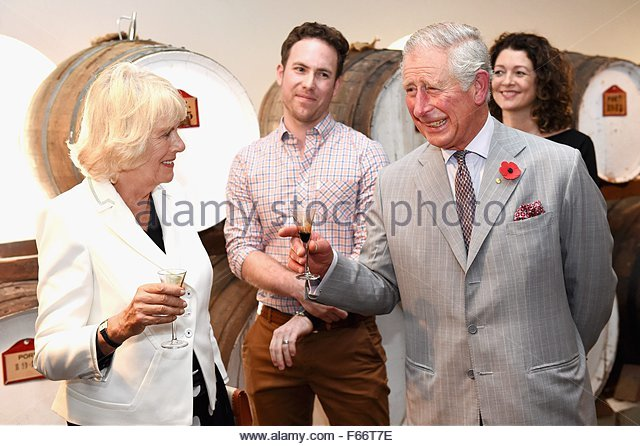 epa05018792 Prince Charles, Prince of Wales (R) and Camilla, Duchess of Cornwall (L) visit Seppeltsfield Winery - Stock Image