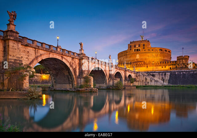 Rome.  Image of the Castle of Holy Angel and Holy Angel Bridge over the Tiber River in Rome at sunrise. - Stock Image
