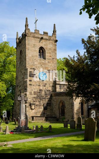 St Lawrence Church Eyam village Derbyshire National Park England GB UK EU Europe - Stock Image