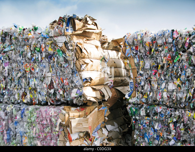 bale of wire bound plastic containers - Stock Image