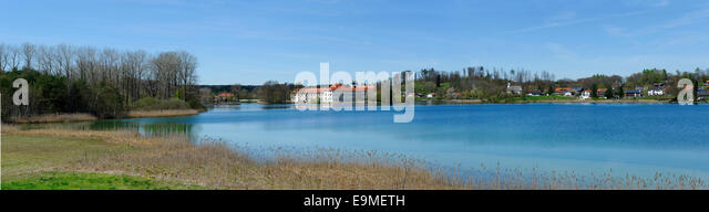 Seeon Abbey with Seeoner Lake, vineyard and Braeuhausen, Seeon, Chiemgau, Upper Bavaria, Bavaria, Germany - Stock Image