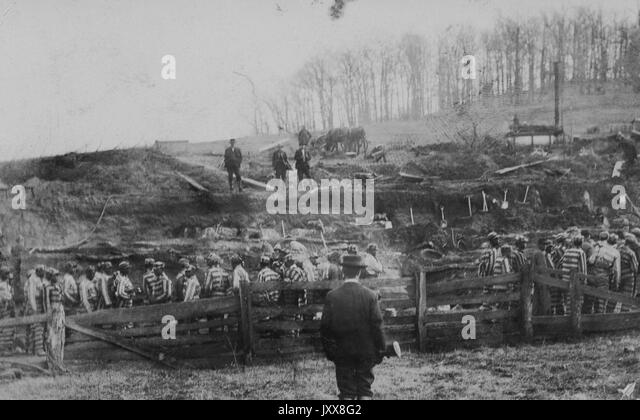 A large group of African American male laborers in striped prison uniforms stand in a cleared wooded area, among - Stock Image