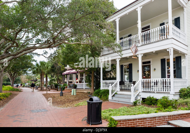 houses along the waterfront in beaufort south carolina usa stock