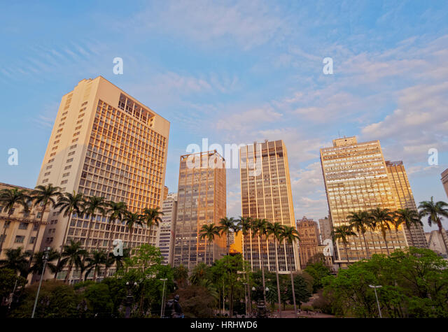View of the Anhangabau Park and buildings in city centre., City of Sao Paulo, State of Sao Paulo, Brazil - Stock Image