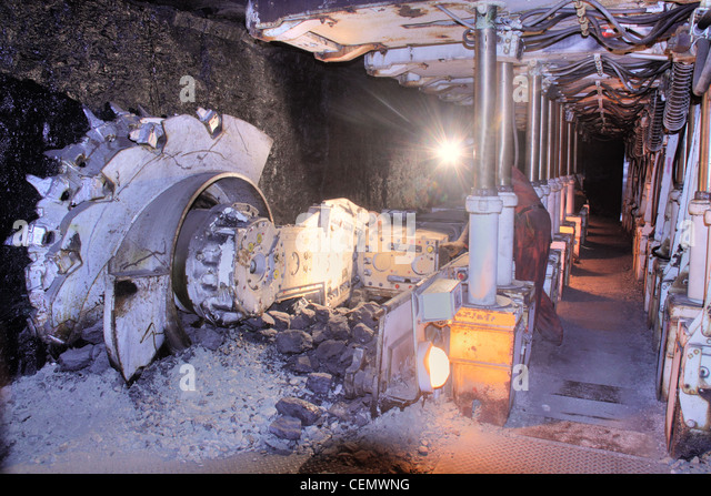 Coalface Cutting Machine Midlothian Mining Mine Museum, Scotland UK - Stock Image