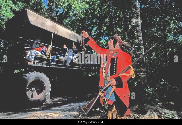 Florida Seminole Indian dressed as British redcoat - Stock Image
