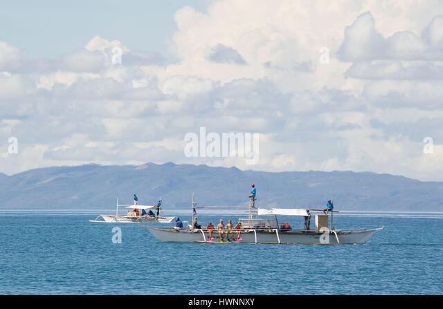 Philippines, Luzon, Sorsogon Province, Donsol, boats waiting for whale shark - Stock-Bilder