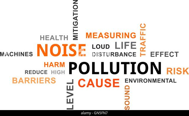 word cloud - noise pollution - Stock Image