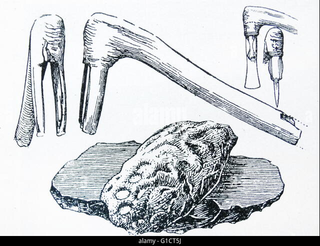 Illustration depicting implements of the stone age - Stock-Bilder