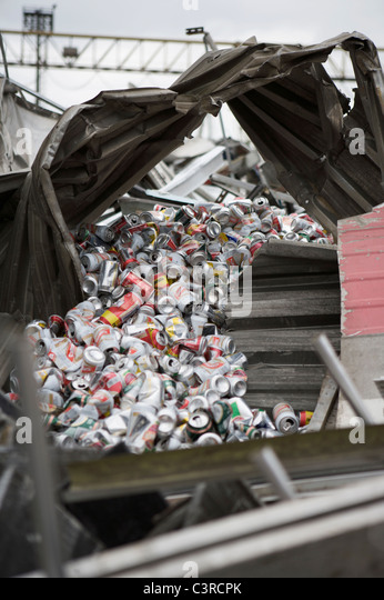 Beer cans for recycling - Stock Image
