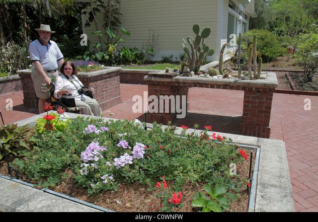 Orlando Florida Harry P. Leu Gardens flowers flowerbed woman wheelchair disabled man couple pushing - Stock Image