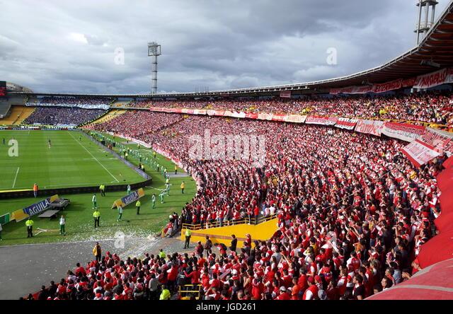 Santa Fe and Millonarios fans in the Campin Stadium, Bogota - Stock Image
