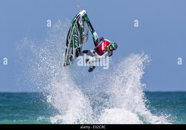 Rider competing at IFWA World Tour Jet Ski Championship 2015, Fistral beach, Cornwall, UK - Stock-Bilder