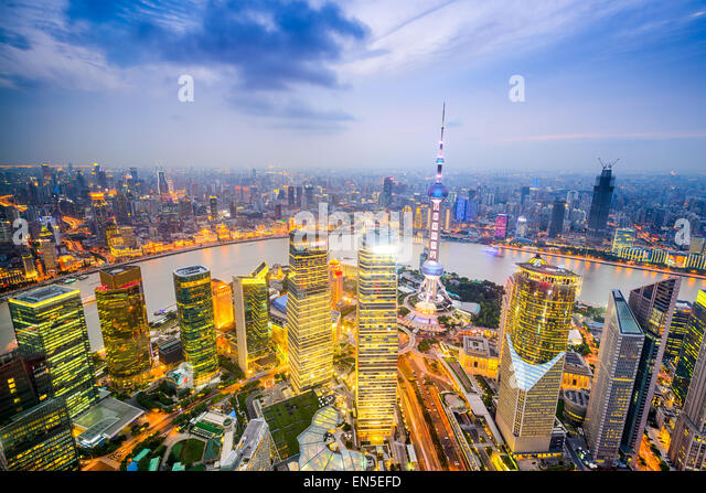 Shanghai, China city skyline over the Pudong Financial District. - Stock Image
