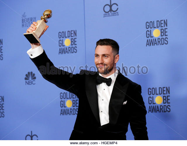Actor Aaron Taylor-Johnson holds the award for Best Performance by an Actor in a Supporting Role in any Motion Picture - Stock Image