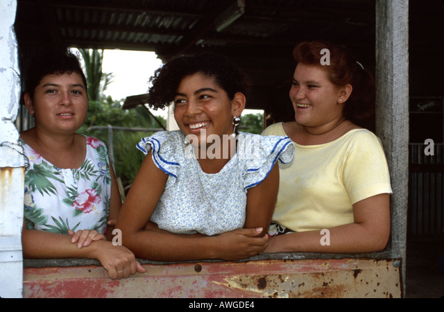 Belize Central America Corozal local smiling females - Stock Image