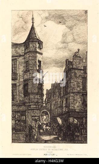 Charles Meryon, French (1821-1868), Tourelle, Rue de l'École de Médecine, 22, Paris, 1861, etching - Stock-Bilder