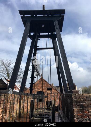 Coal mine shaft, Blists Hill, Ironbridge Gorge World Heritage Site, Shropshire, England - Stock Image