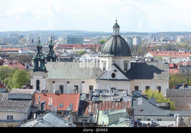 Baroque Church of St. Anna, view from City Hall Tower , Stare Miasto old town, Krakow, Lesser Poland, Poland, Europe - Stock-Bilder