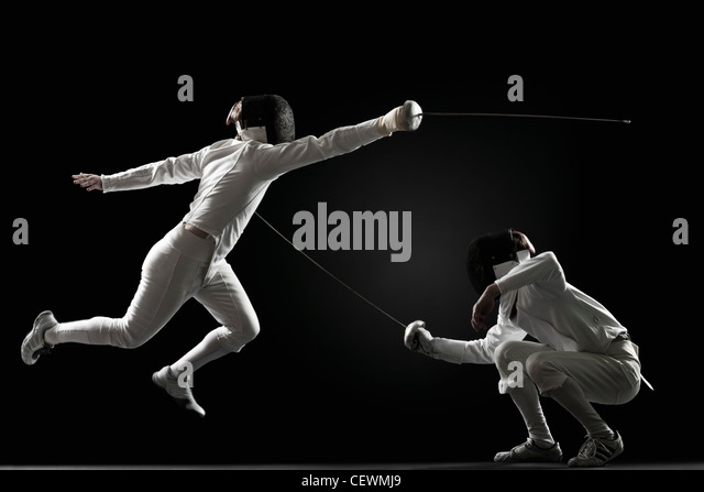 Fencers fencing - Stock Image