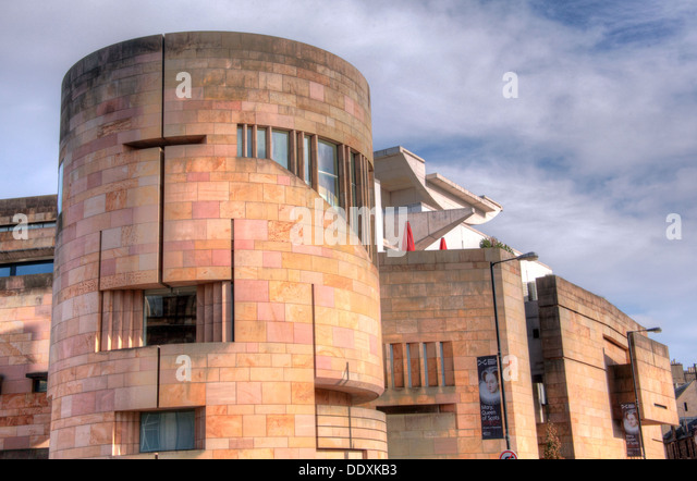 National Museum of Scotland exterior, showing roof terrace, Chambers St Edinburgh city, Scotland UK EH1 1JF - Stock Image