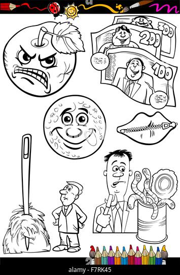 cartoon sayings set for coloring book - Stock Image