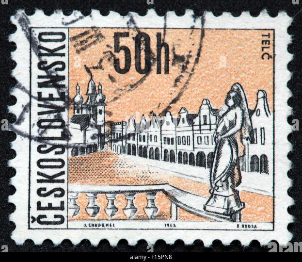 Ceskoslovensko 50h 1968 j.chudqmel b.kousa Telc stamp - Stock Image