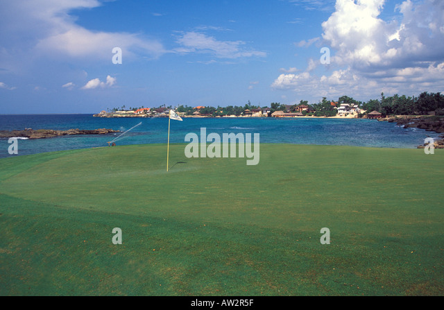 Dominican Republic sa de campo teeth of dog hotel resort golf course on the caribbean sea - Stock Image