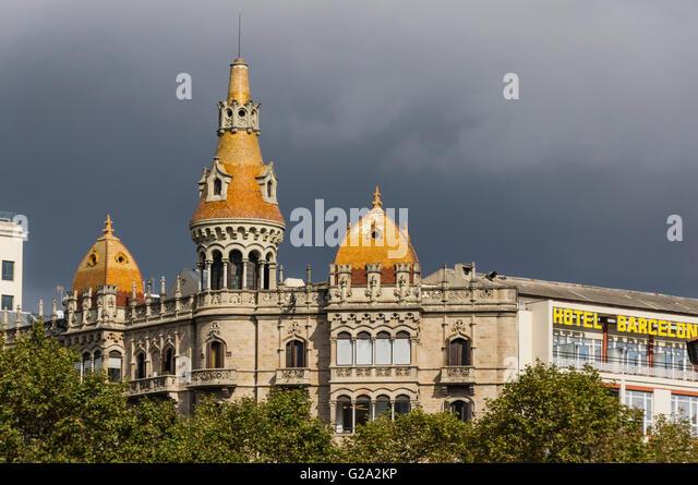 Cases Rocamora, Teatre Tivoli , theatre, Hotel Barcelona, Plaza de Catalunya Catalonia , Barcelona, Catalonia, Spain, - Stock Image