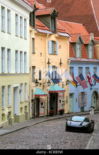 A quiet side street in the old town area of Tallinn in Estonia. - Stock Image