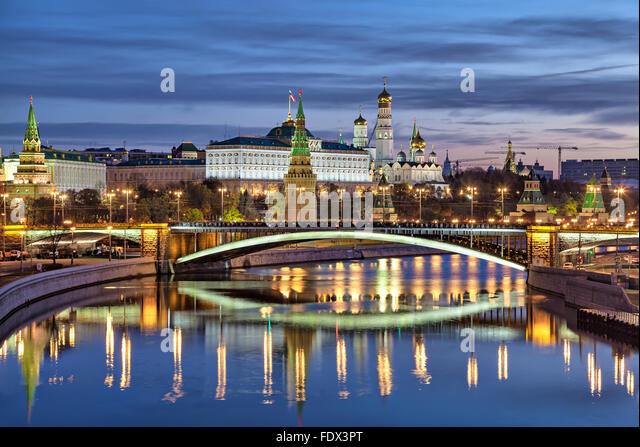 View on Bolshoy Kamenny Bridge and Kremlin in the morning, Russia - Stock Image