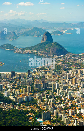 Aerial view of Rio de Janeiro cityscape and Sugarloaf Mountain, Brazil - Stock Image