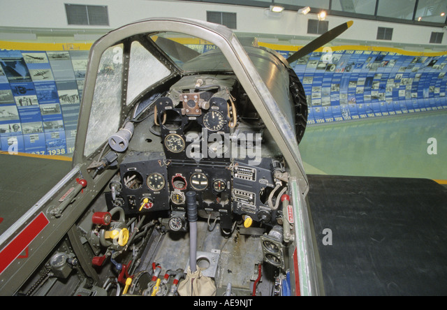 The cockpit of Kawasaki Ki-100 Type-5 Imperial Japanese Army Fighter - Stock Image