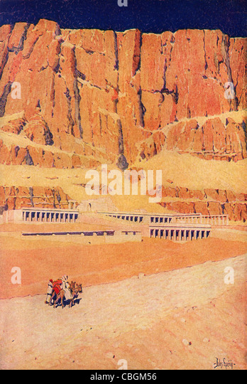 The Temple of Deir-El-Bahri; Luxor, Egypt; a vintage 1914 printed color halftone reproduction of the Jules Guerin - Stock Image