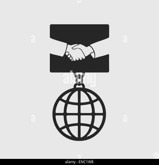 Medal Handshake symbol - Stock Image