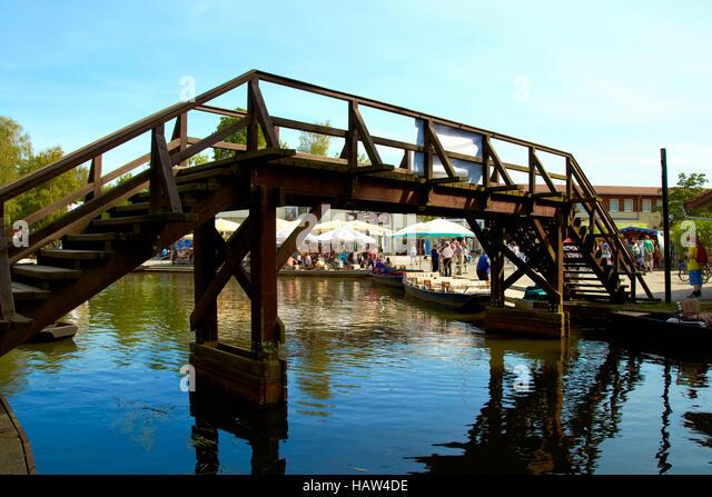 bridge in the harbor of Lehde - Stock Image