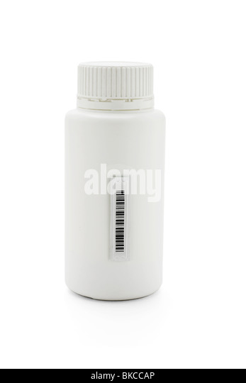 Medicine container with plastic barcode sticker on the side - Stock Image