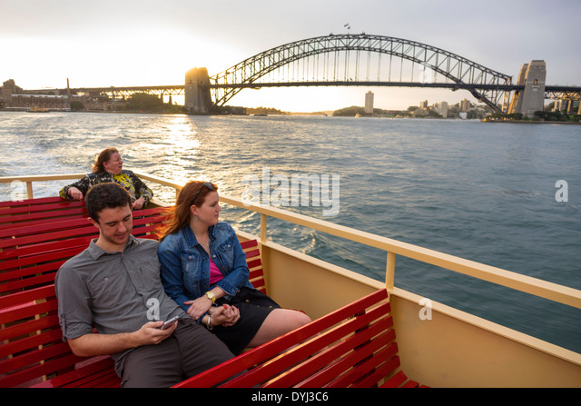 Sydney Australia NSW New South Wales Sydney Harbour Bridge harbor Parramatta River Circular Quay F2 ferry Mosman - Stock Image