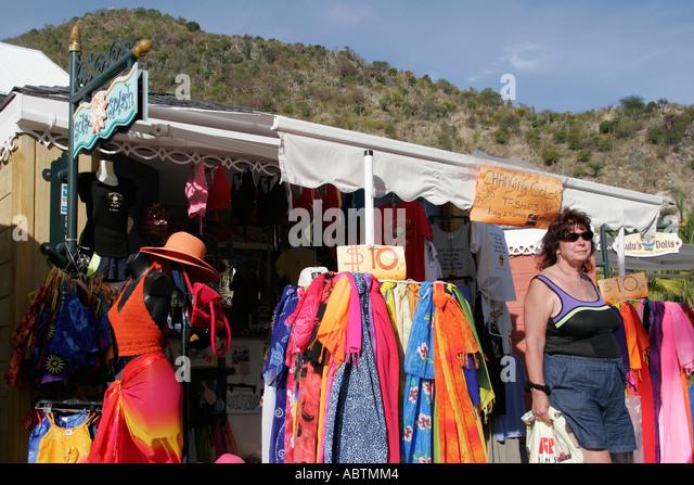 Sint Maarten Philipsburg Dutch duty free shopping souvenirs Point Blanche Mountain - Stock Image