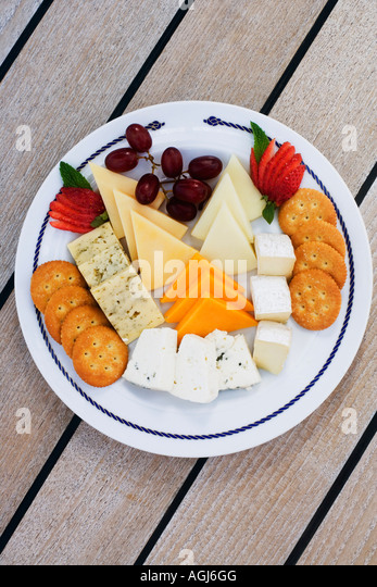 High angle view of assorted food on a plate - Stock-Bilder