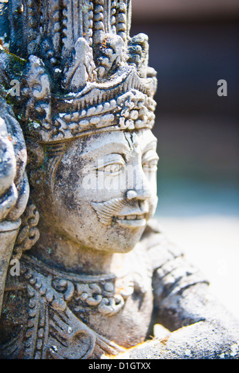Close-up of stone statue, Pura Tirta Empul Hindu Temple, Bali, Indonesia, Southeast Asia, Asia - Stock Image
