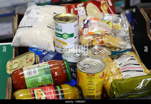 Food box at food bank UK. - Stock Image